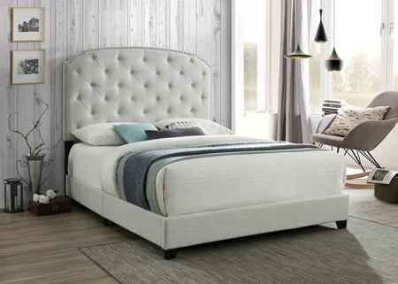 Blake Collection BL8009-K-GY King Size Bed with Button Tufted Headboard  Nail Head Trim  Wood Frame Construction and Polyester Blend Fabric