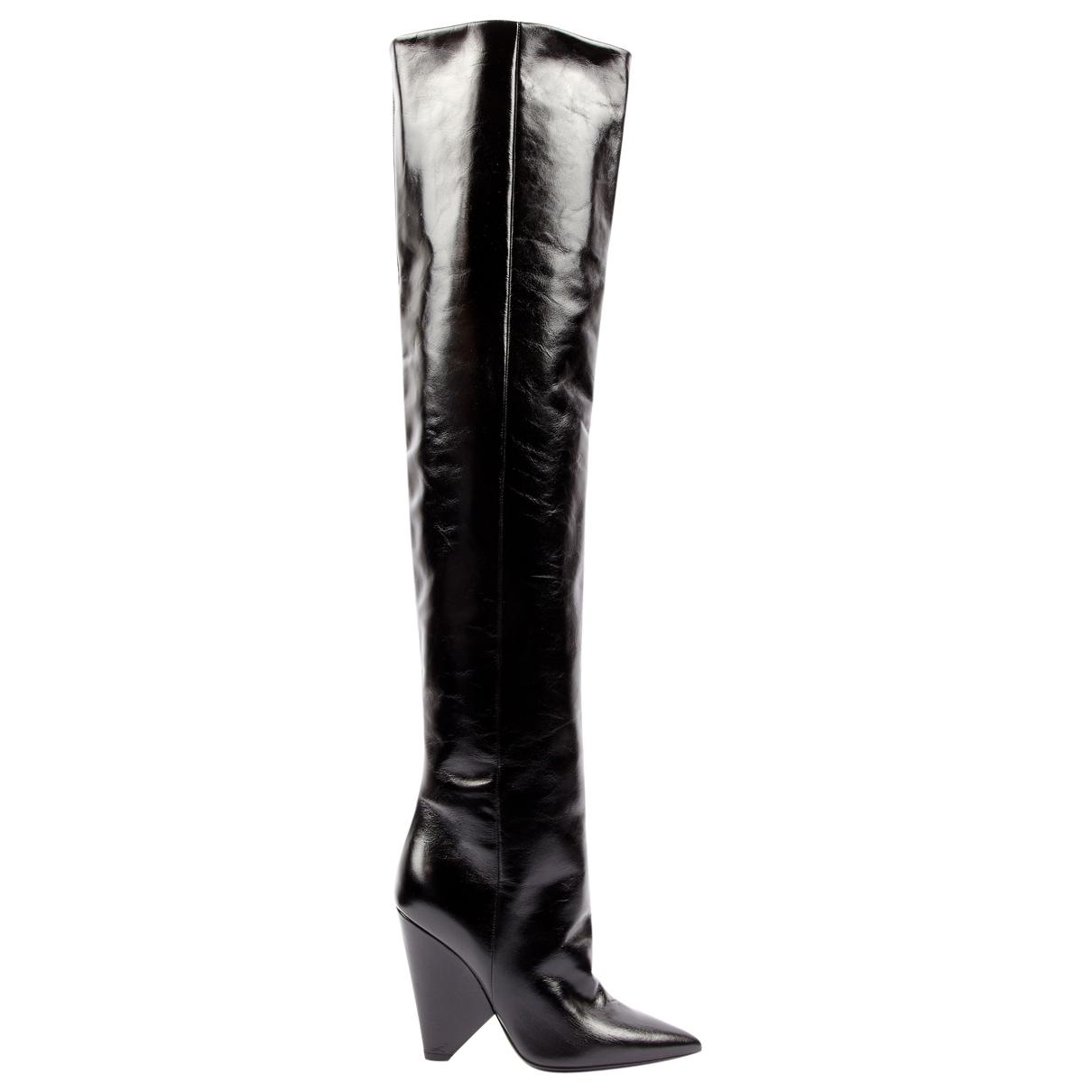 Saint Laurent - Bottes Niki pour femme en cuir - noir