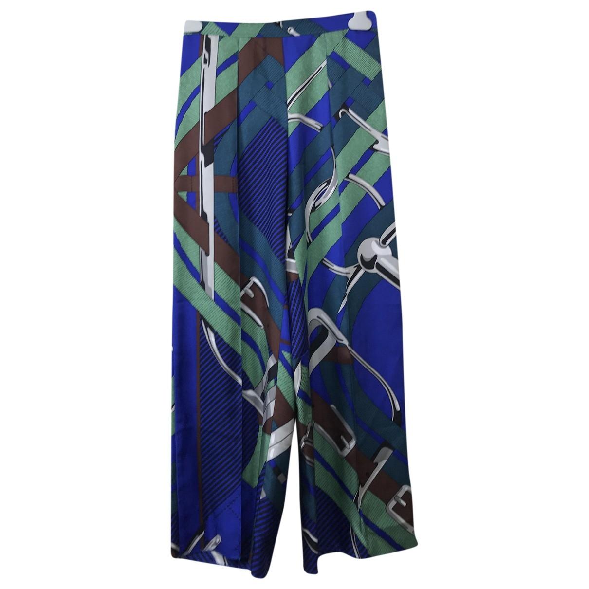 Hermès \N Multicolour Silk Trousers for Women 36 FR