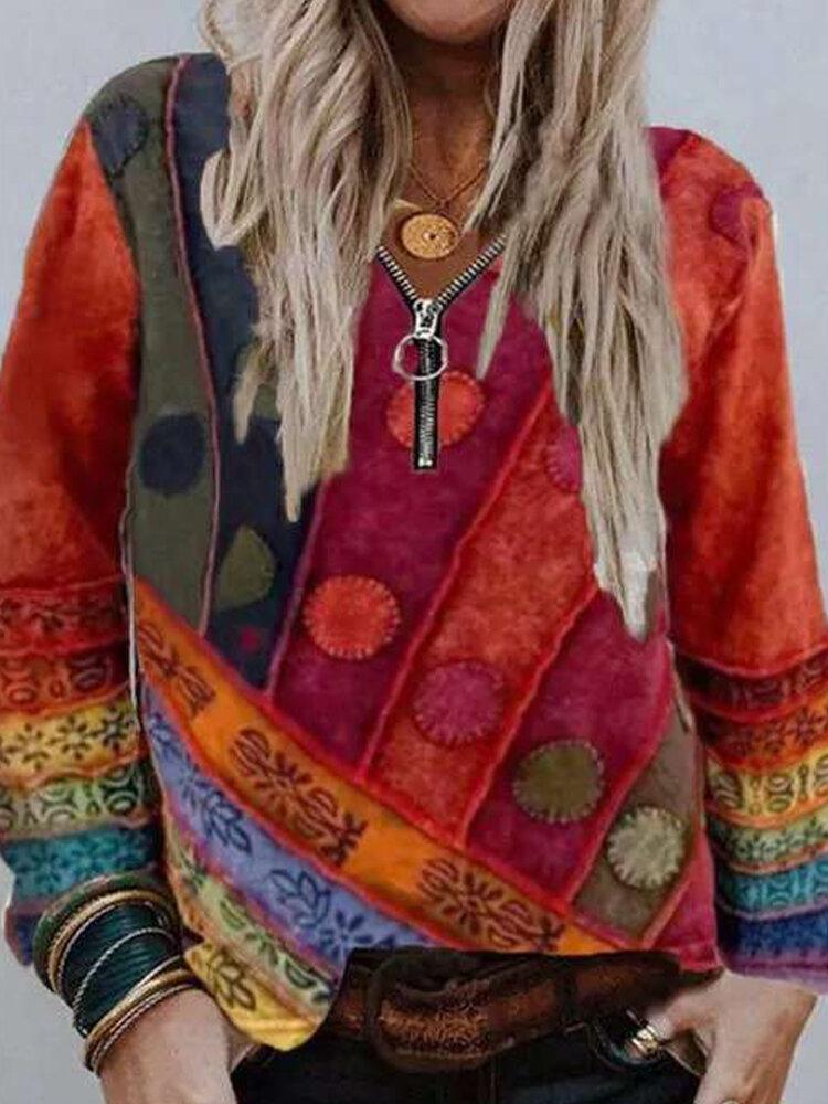 Ethnic Printed Long Sleeve V-neck Zip Front Sweatshirt For Women