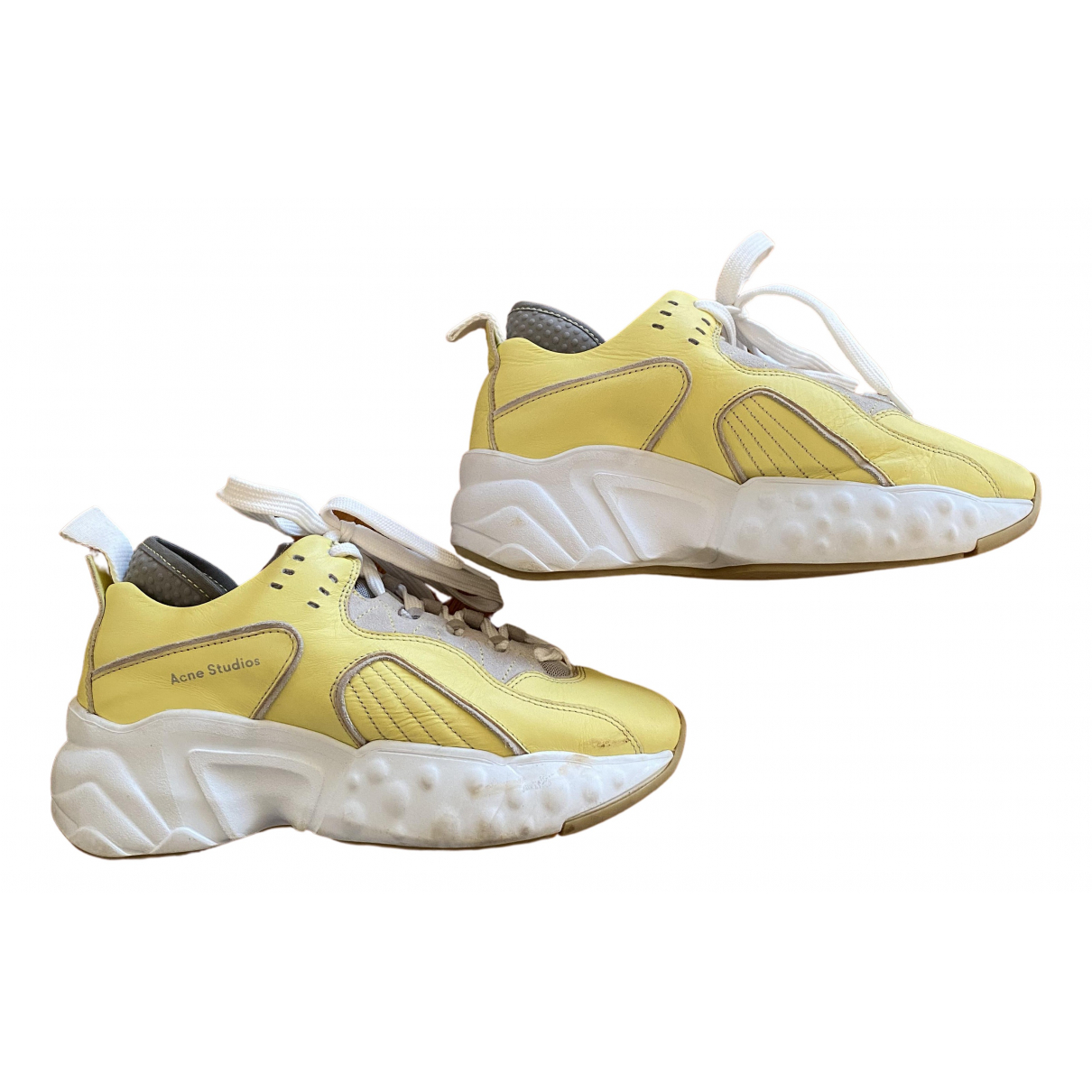 Acne Studios - Baskets Manhattan pour femme en cuir - jaune