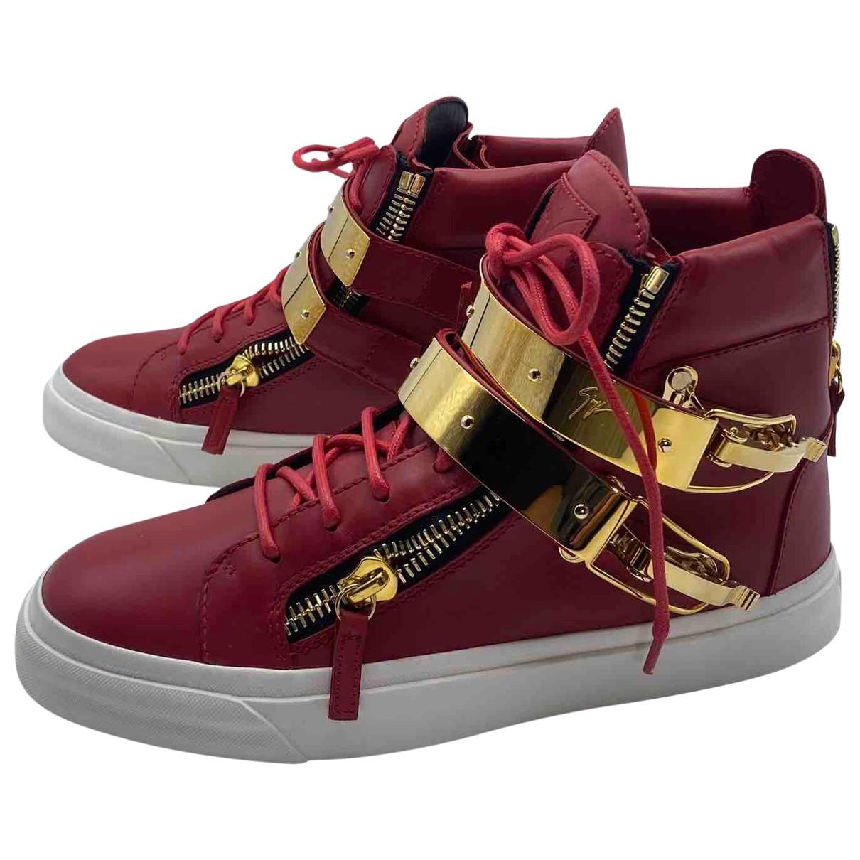 Giuseppe Zanotti \N Sneakers in  Bordeauxrot Leder