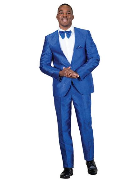Mens Blue Single Breasted One Button Suit