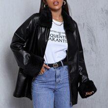 Faux Fur Collar & Cuff PU Leather Coat
