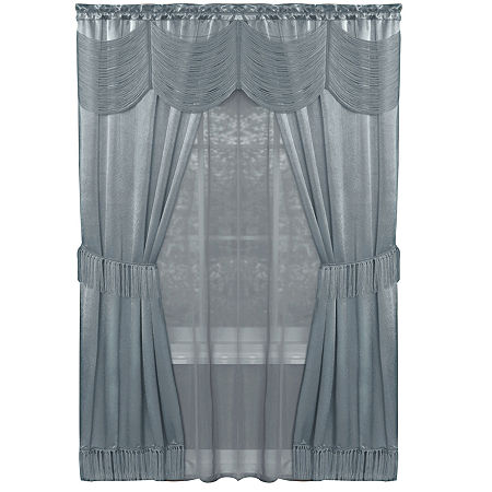 Halley Light-Filtering Rod-Pocket Curtain Panel, One Size , Blue