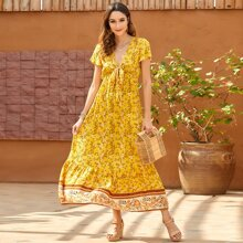 Floral Print Tie Front Dress