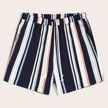 Guys Drawstring Waist Colorful Striped Shorts
