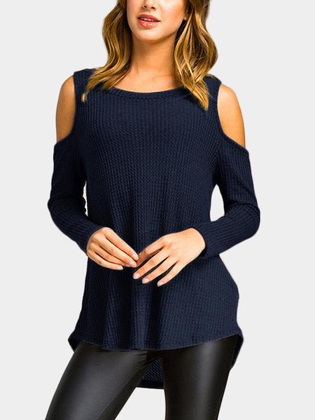 Yoins Navy Cold Shoulder Long Sleeves Irregulr T-shirt