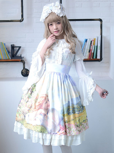 Milanoo Sweet Lolita Dress SK Light Blue Printed Ruffle Cotton Lolita Skirt Original Design