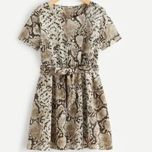 Plus Snakeskin Print Belted Dress