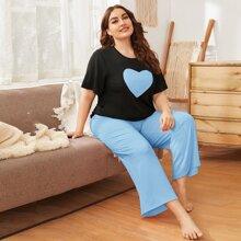 Schlafanzug Set mit Herzen Muster und breitem Beinschnitt