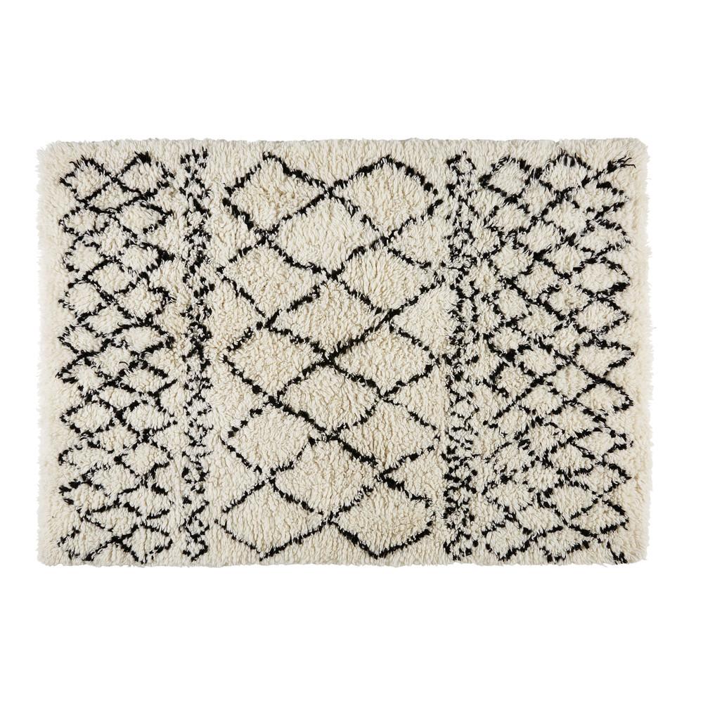 Berberteppich aus Wolle und Baumwolle ecru/schwarz 140x200cm