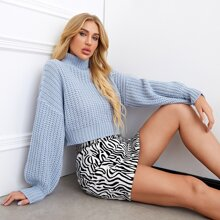 Turtleneck Lantern Sleeve Crop Sweater