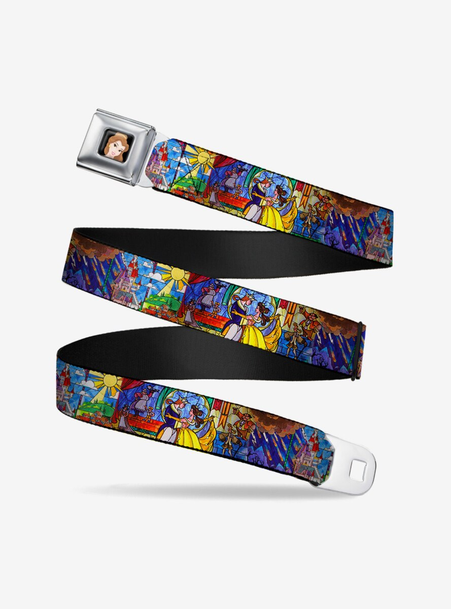 Disney Beauty And The Beast Stained Glass Scenes Seatbelt Belt