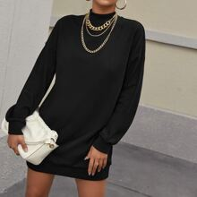 Drop Shoulder Solid Sweatshirt Dress