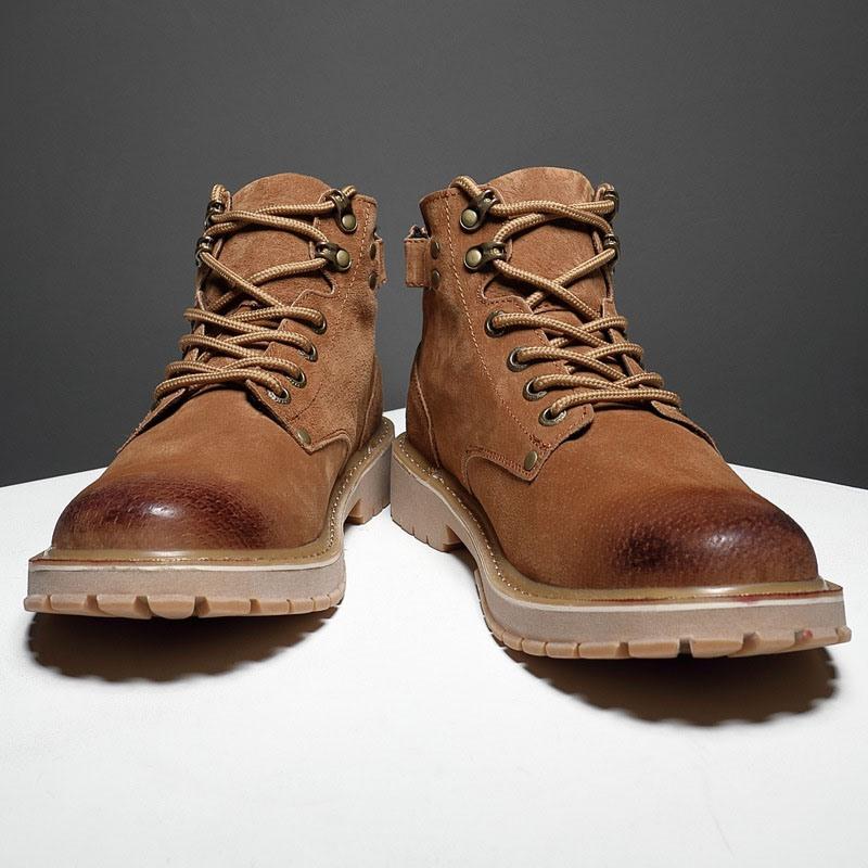 Ericdress Lace-Up Front Round Toe Plain Men's Boots