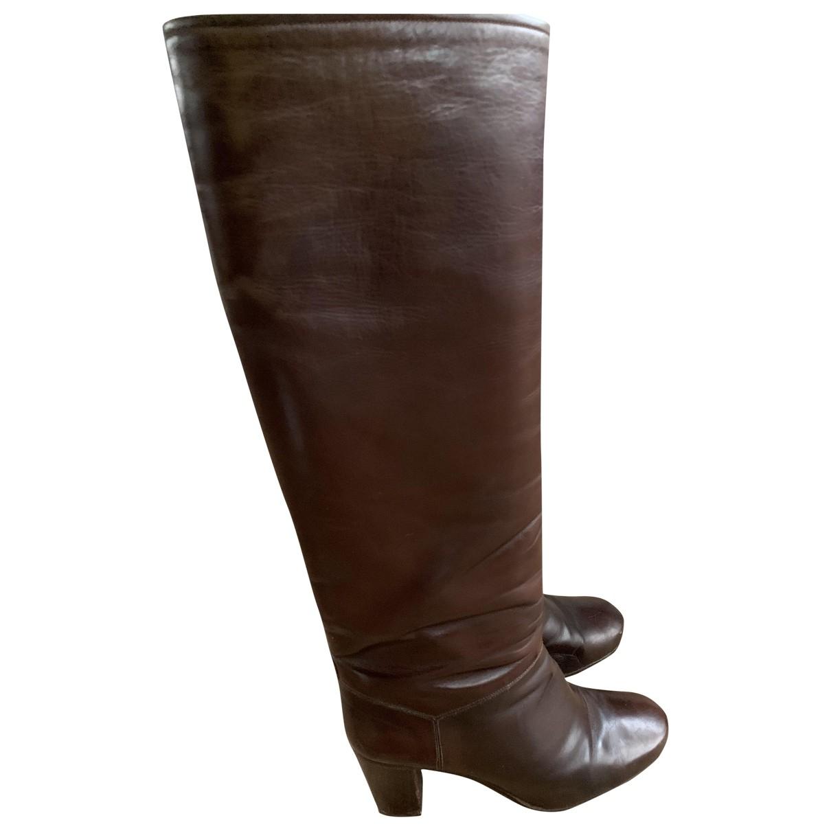 Celine - Bottes   pour femme en cuir - marron