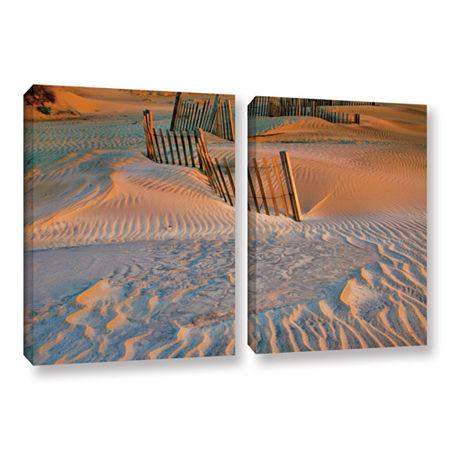 Brushstone Dune Patterns II 2-pc. Gallery WrappedCanvas Wall Art, One Size , White