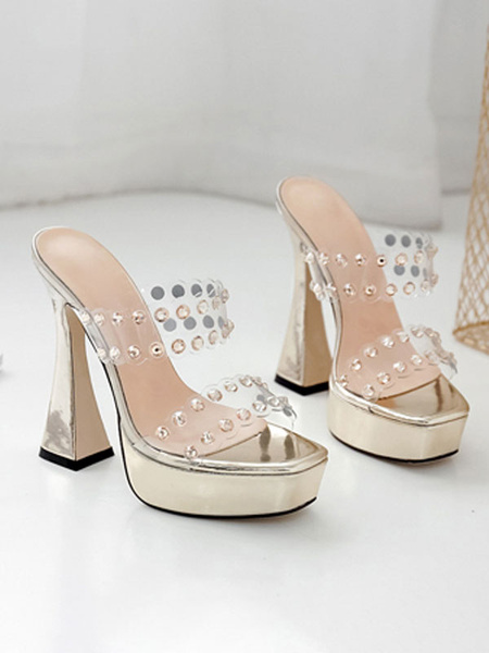 Milanoo Sexy Sandals For Woman Silver PU Leather Open Toe Platform Sexy Sandals