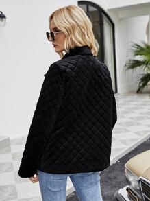 Solid Button Front Quilted Coat
