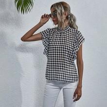 Checkered Plaid Shirred Frill Blouse