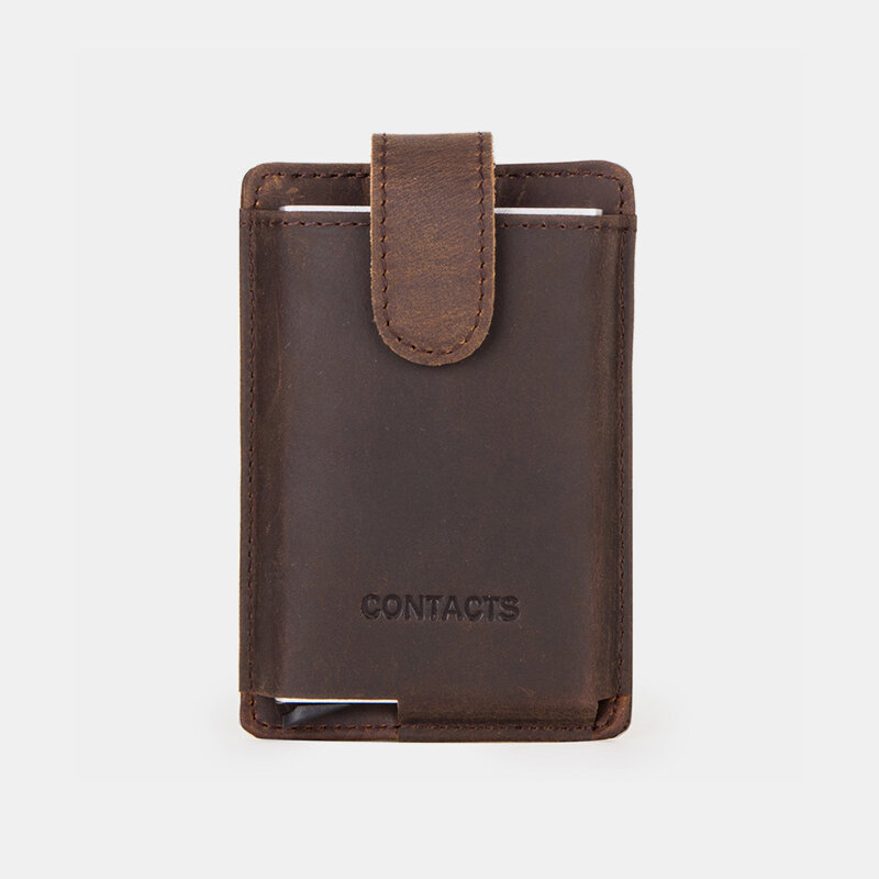Men RFID Genuine Leather Card Case Coin Purse Wallet