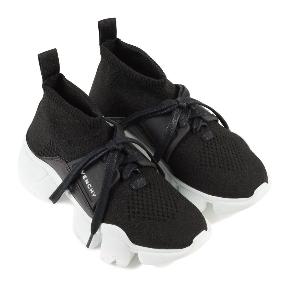 Givenchy Kids Woven Knit Logo High-Top Trainers Colour: BLACK, Size: E