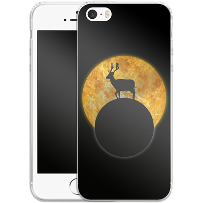Apple iPhone 5 Silikon Handyhuelle - Deer on the Moon von Barruf