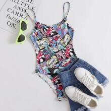Pop Art Print Slip Bodysuit