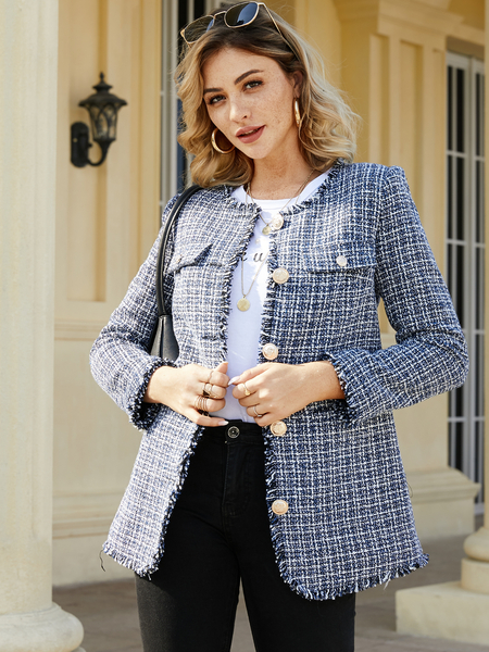YOINS CHRISTMAS SALE Blue Button Design Plaid Long Sleeves Coat