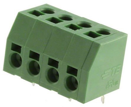 TE Connectivity 5mm Pitch, 4 Way PCB Terminal Strip, Green (10)