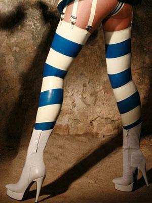 Milanoo White Blue Stripe Pattern Latex Women's Stockings