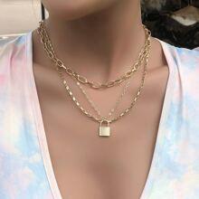 Mehrschichtige Halskette mit Verschluss Anhaenger