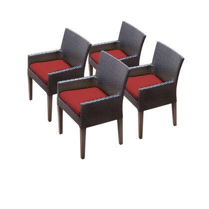 TKC097b-DC-2x-C-TERRACOTTA 4 Napa Dining Chairs With Arms with 2 Covers: Wheat and
