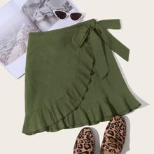 Ruffle Trim Wrap Tie Side Skirt