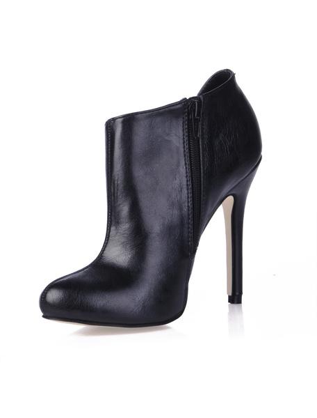 Milanoo Womens Black Zipper High-Heel Booties