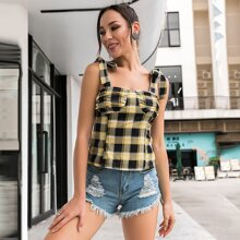 Gingham Print Knotted Tank Top