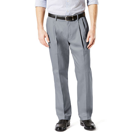 Dockers Big & Tall Classic Fit Signature Khaki Lux Cotton Stretch Pants - Pleated D3, 46 32, Gray