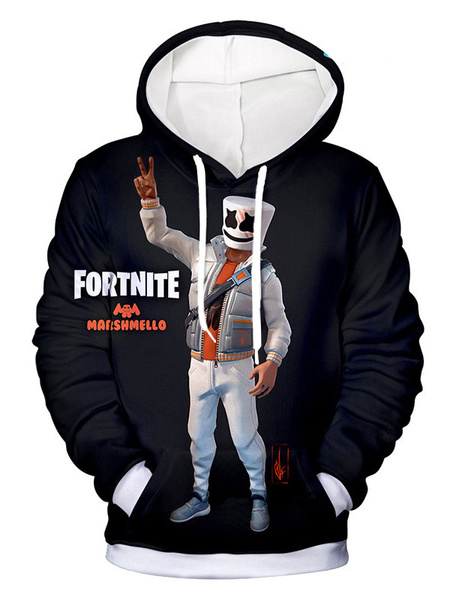 Milanoo Fortnite Marshmello Cosplay Costumes Hoodie Black Adult Printed Hooded Sweatshirt