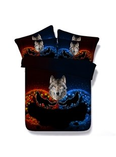 Red and Blue Wolf Printed Cotton 3D 4-Piece Bedding Sets/Duvet Covers
