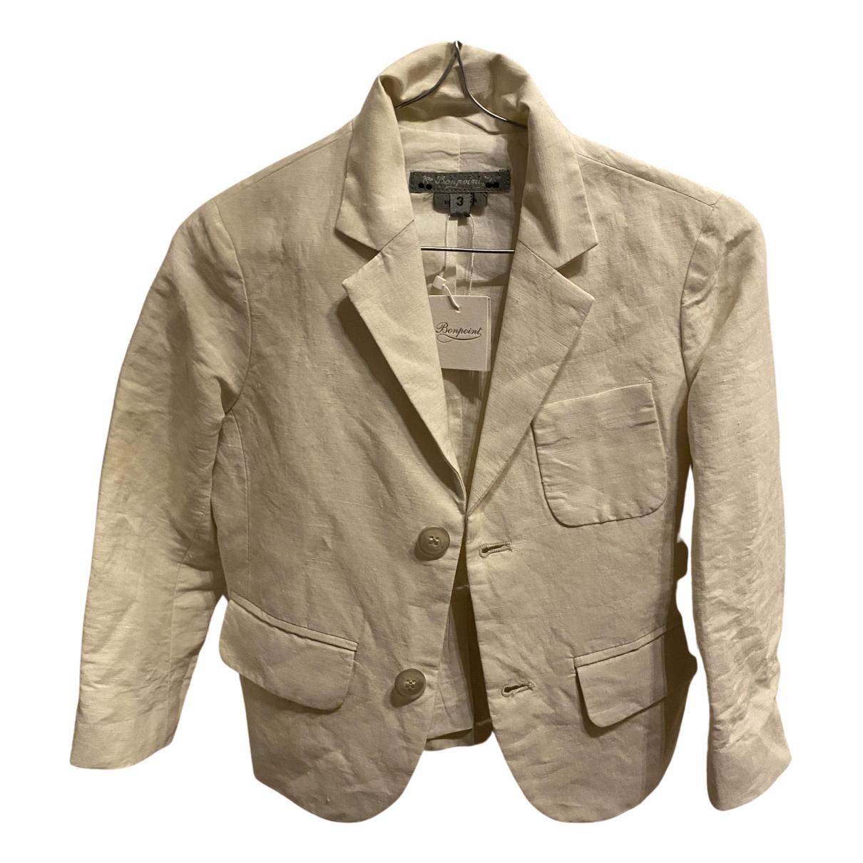 Bonpoint - Blousons.Manteaux   pour enfant en lin - blanc