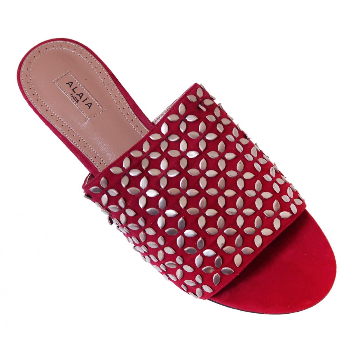 Alaïa \N Burgundy Leather Sandals for Women 37 EU