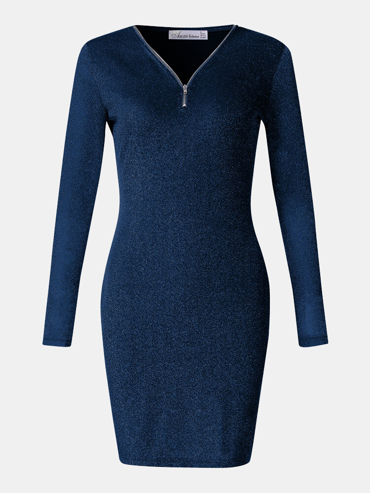 V-neck Zipper Solid Color Long Sleeve Sexy Dress For Women