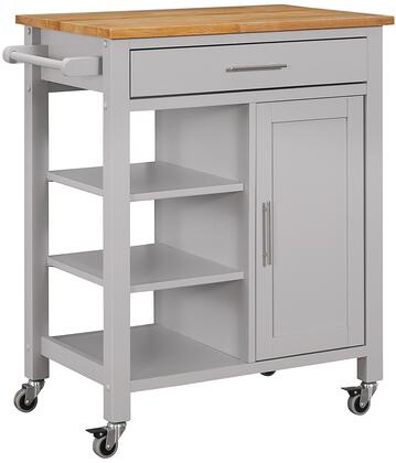 43029 28 Edmonton Kitchen Cart with Natural Wood Top  1 Drawer  1 Framed Door and Large Industrial Casters in