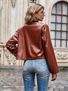PU Leather Fake Pocket Drop Shoulder Jacket