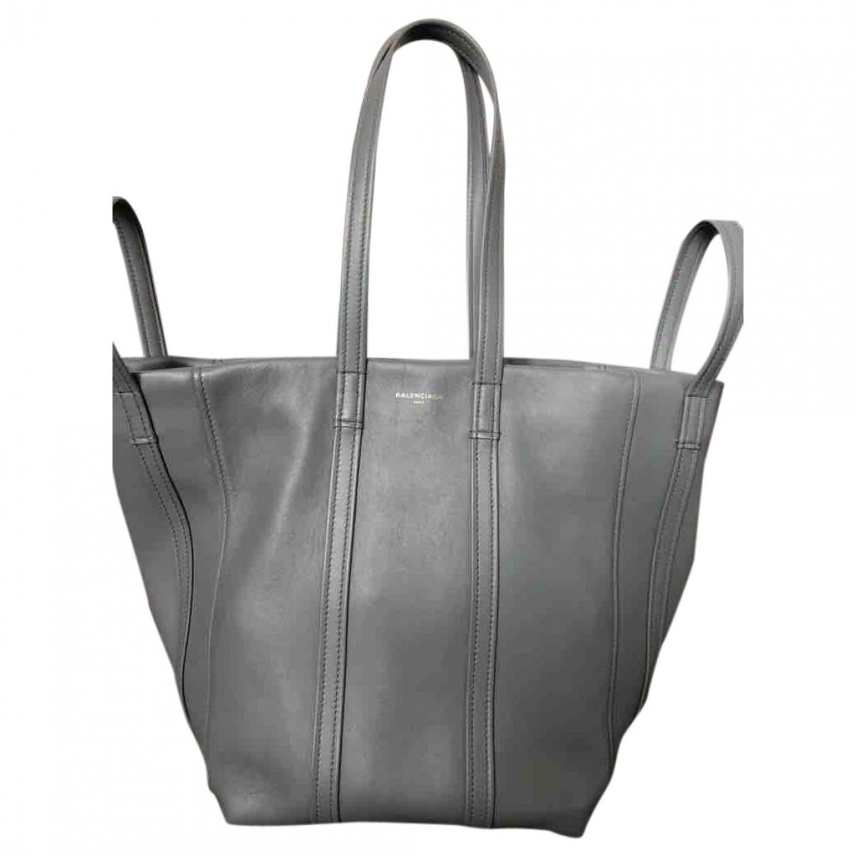Balenciaga - Sac a main Laundry Cabas pour femme en cuir - gris