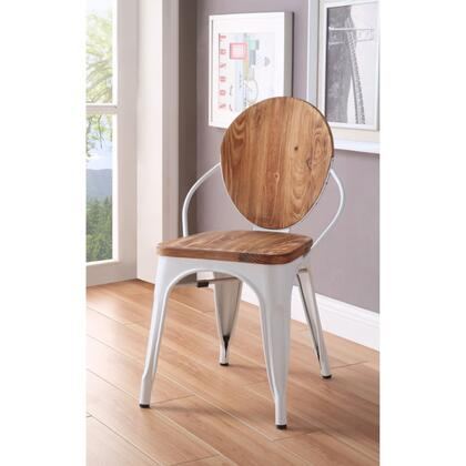 BM185395 Wood and Metal Dining Side Chair with Oval Backrest  Set of 2  Brown and
