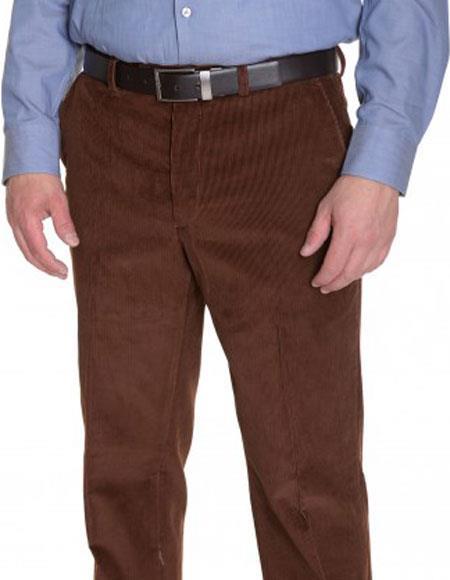 Men's Vicuna Corduroy Brown Cotton Flat Front Formal Dressy Pant