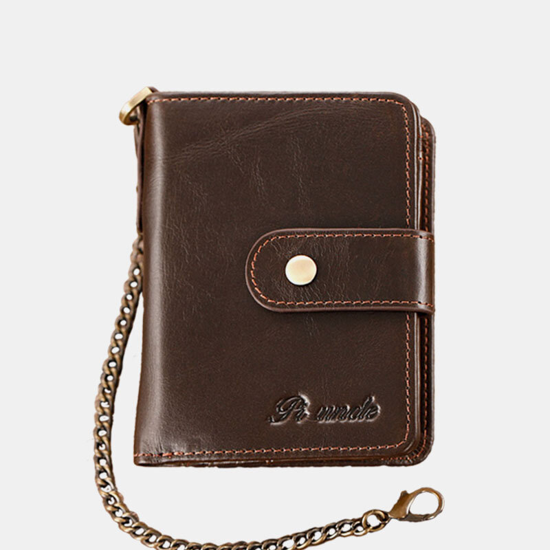 Men Genuine Leather RFID Anti Theft Chain 12 Card Slots Wallet Purse