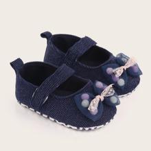 Baby Boy Bow Decor Velcro Strap Flats